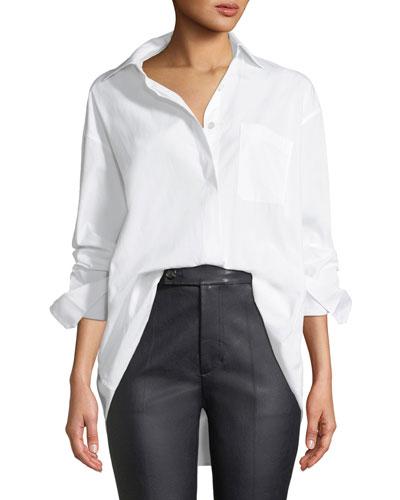 Oversized Button-Down Poplin Shirt