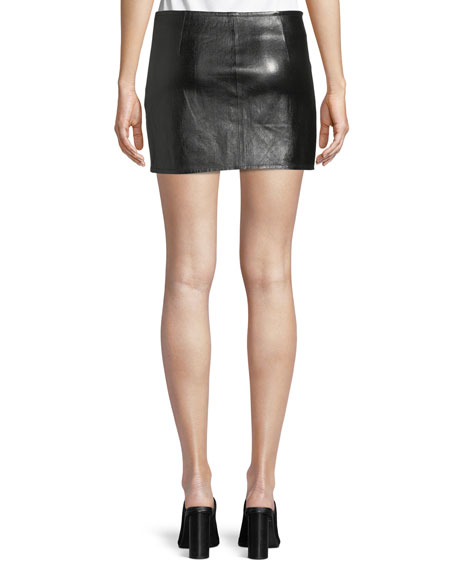 Lamb Leather Mini Overlap Skirt