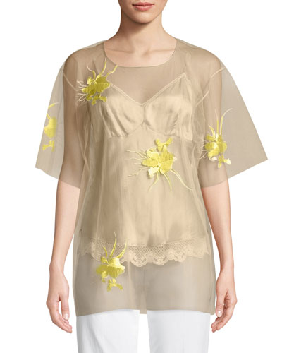 Orchid-Embroidered Tulle Blouse