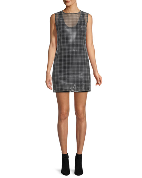 Cellophane Plaid Shell Mini Dress