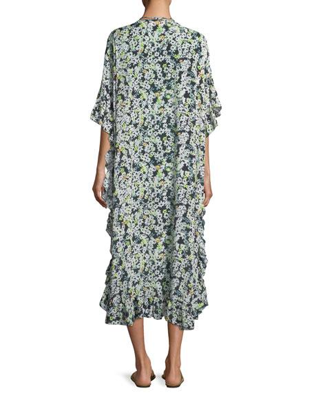 Floral Caftan Short-Sleeve Dress