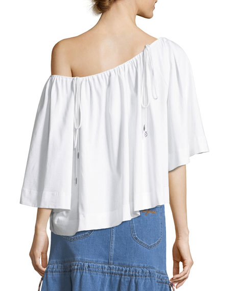 Bateau-Neck Billowy Cotton Blouse