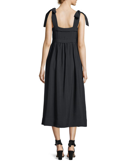 Sleeveless Tie-Shoulder A-Line Dress