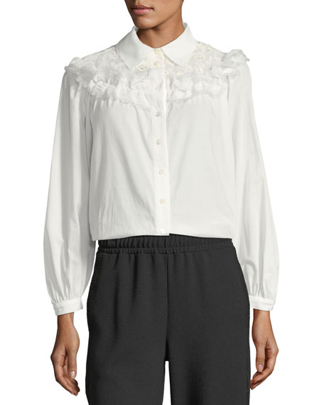 Button-Front Cotton Blouse with Ruffled Trim