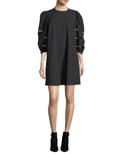 Opaque A-Line Mini Dress with Ladder-Stitched Balloon Sleeves