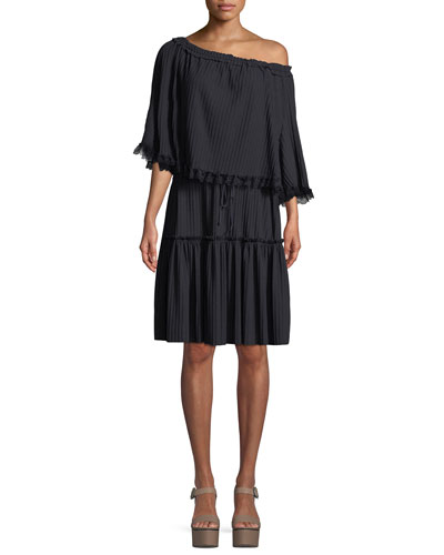 Tiered Plisse Self-Tie Shift Dress