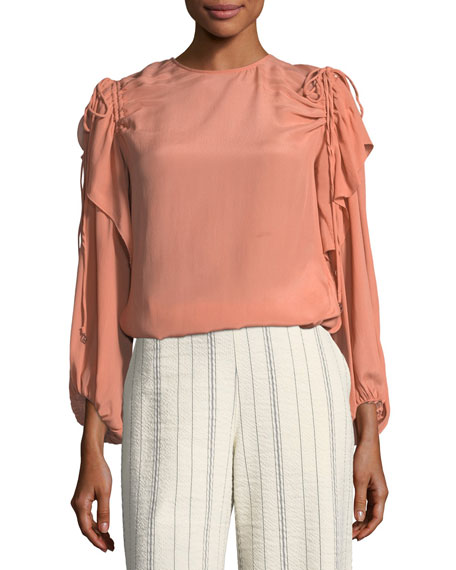 Blush Draped Long-Sleeve Top