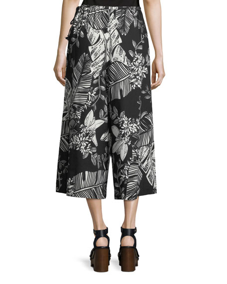 Palm-Print Wide-Leg Crop Cotton Jersey Pants