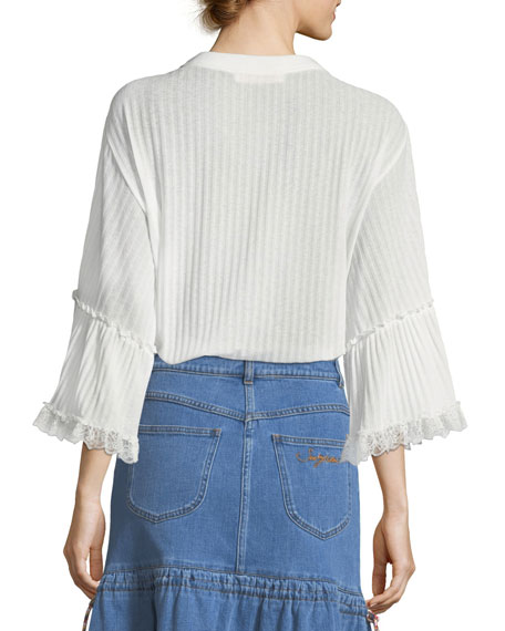 Crewneck 3/4 Sleeve Rib-Knit Top