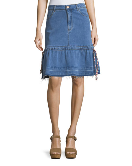 A-Line Denim Skirt with Braided Drawstrings