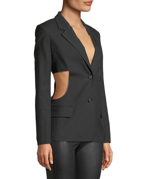 Single-Breasted Cutout-Sides Canvas Blazer