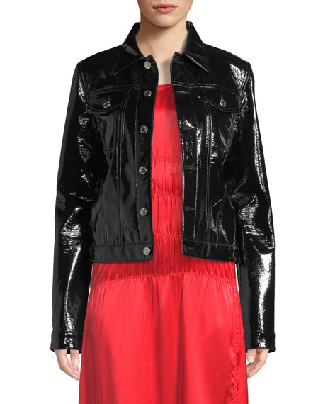 Helmut Lang Button-Front Vinyl Jacket