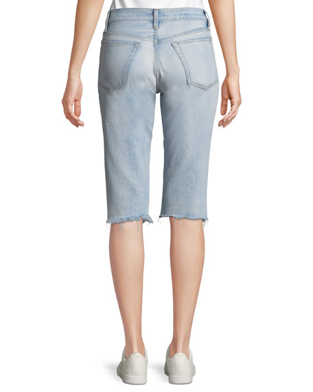 Cutoff Knee-Length Denim Shorts