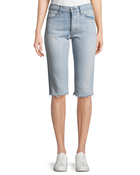 Helmut Lang Cutoff Knee-Length Denim Shorts