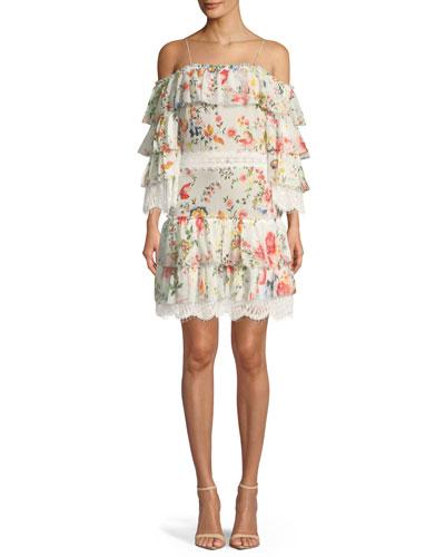 Santos Cold-Shoulder Floral-Print Tiered Silk Dress w/ Lace Trim