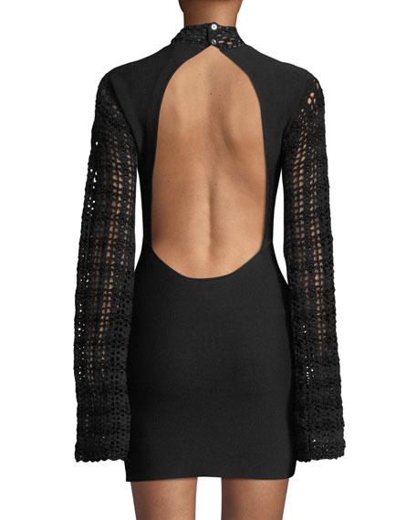 Striped Crochet Open-Back Mini Dress