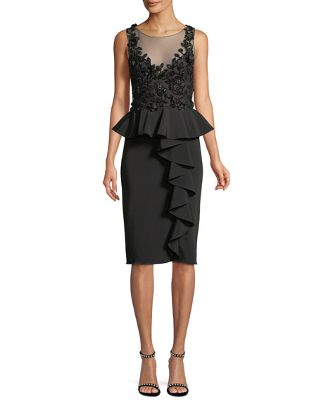 Embroidered Stretch Faille Cocktail Dress w/ 3D Beading