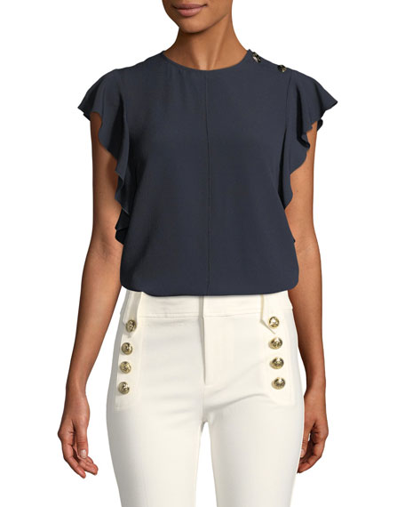 Derek Lam 10 Crosby  RUFFLED CREWNECK TOP