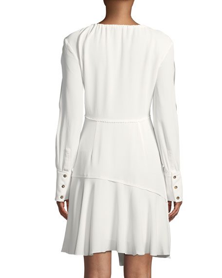 Long-Sleeve Tie-Neck Asymmetric A-Line Dress