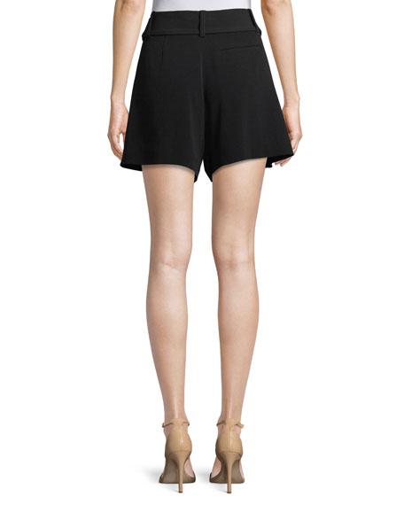 Belted Flared-Leg Crepe Shorts