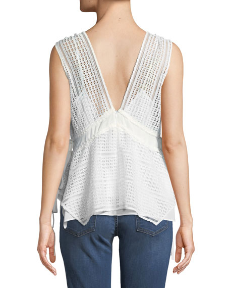Sleeveless V-Neck Lace-Guipure Top w/ Ties