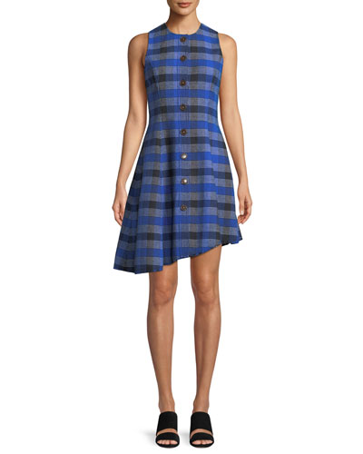Sleeveless Button-Down Asymmetrical Check Dress