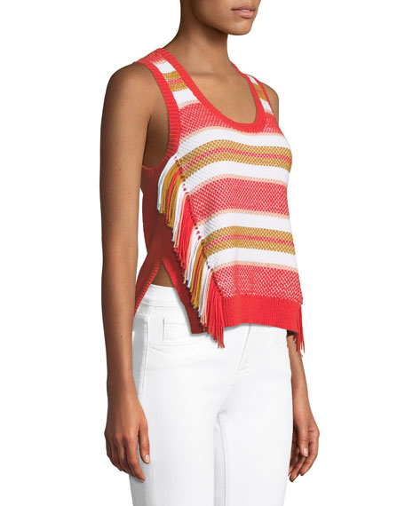 Sleeveless Knit Top with Fringe