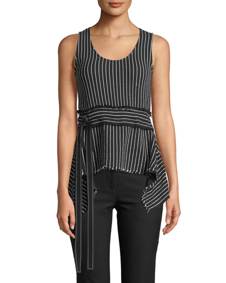 Derek Lam 10 Crosby Scoop-Neck Belted Striped Tank