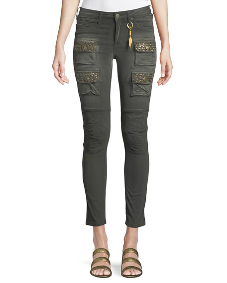 ROBIN'S JEAN Racer Cargo Skinny Pants With Studs in Green