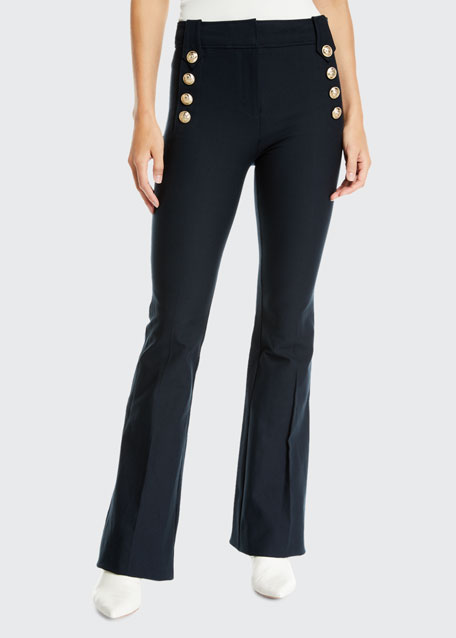 Robertson Cropped Flare Trouser With Sailor Buttons in White from Derek Lam