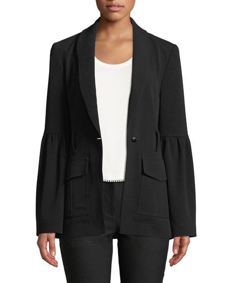 Shawl-Collar One-Button Crepe Blazer with Belt