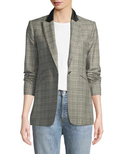 Ridley Peak-Lapel One-Button Plaid Blazer