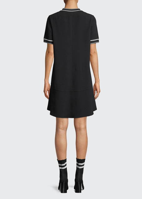 Crewneck Short-Sleeve Crepe Dress