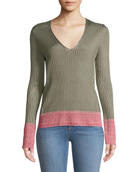 Alyssa V-Neck Long-Sleeve Ribbed Sweater w/ Contrast Hem