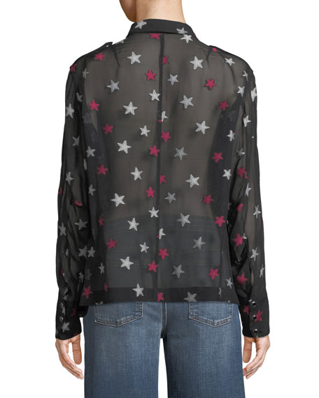 Pearson Button-Down Star-Print Sheer Silk Shirt