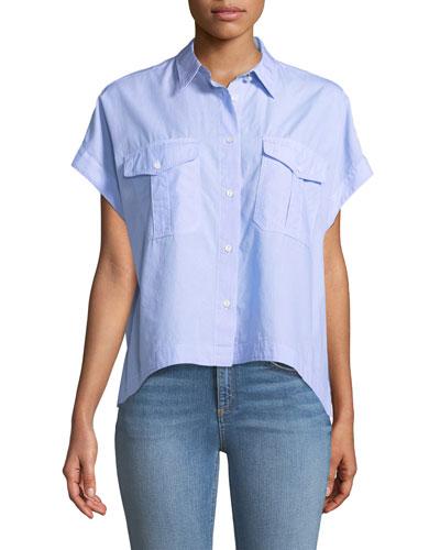 Pearson Button-Down Short-Sleeve Cotton Shirt