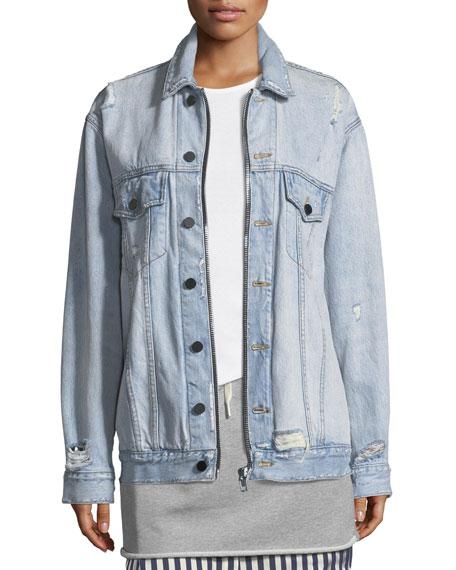 Daze Zip Button-Front Distressed Denim Jacket