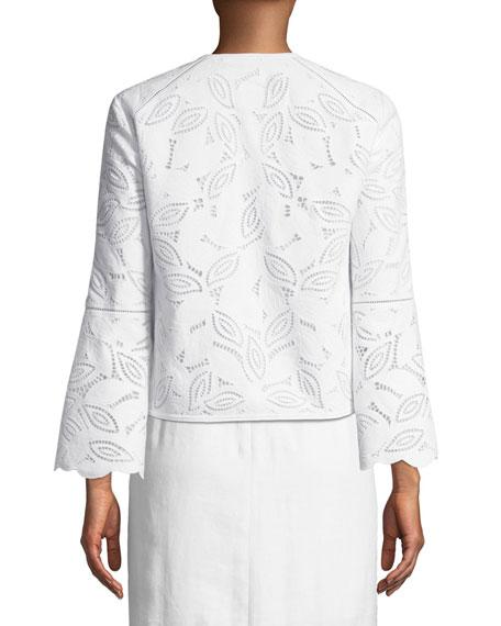Lillian Embroidered-Linen Bolero