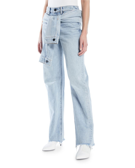 ff2a61a62e alexanderwang.t Stack Tie-Front Wide-Leg Jeans