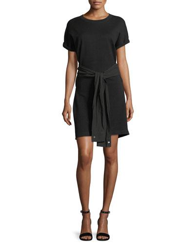 Crewneck Short-Sleeve Shirtdress with Tie Detail