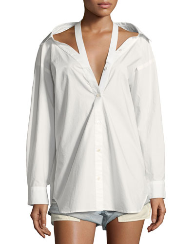 Long-Sleeve Cotton Poplin Oversized Shirt with Neck Tape Detail