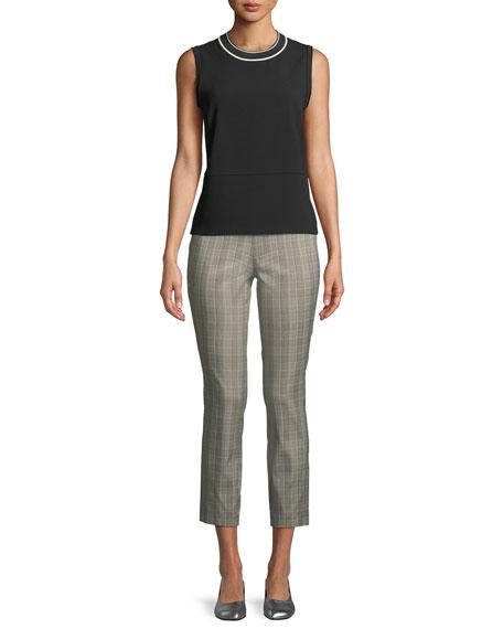 Simone High-Rise Slim Plaid Pants