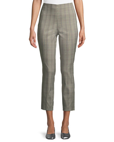 Simone High-Rise Slim Plaid Pants