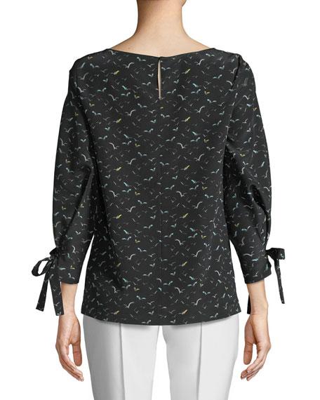 Paige Boat-Neck Tie-Cuffs Bird-Print Silk Blouse