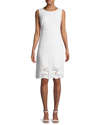 Rachel Embroidered-Trim Sheath Dress