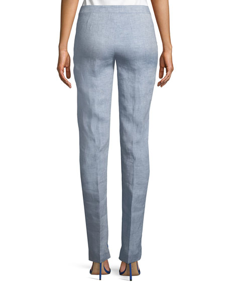 Manhattan Chambray Straight-Leg Pants