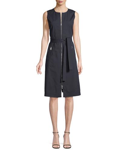 Karsyn Zip-Front Sleeveless Belted A-Line Poplin Dress