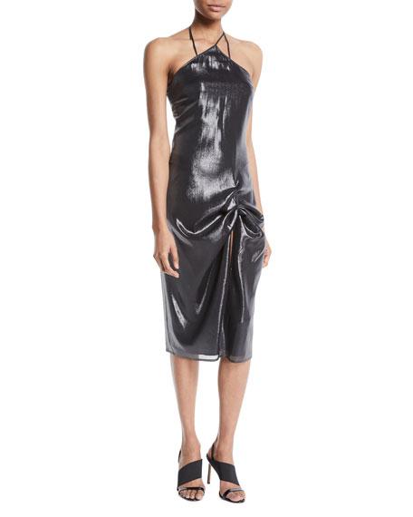 Sleeveless Halter Gathered Metallic Cocktail Dress