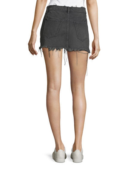 Five-Pocket Raw-Edge Denim Mini Skirt