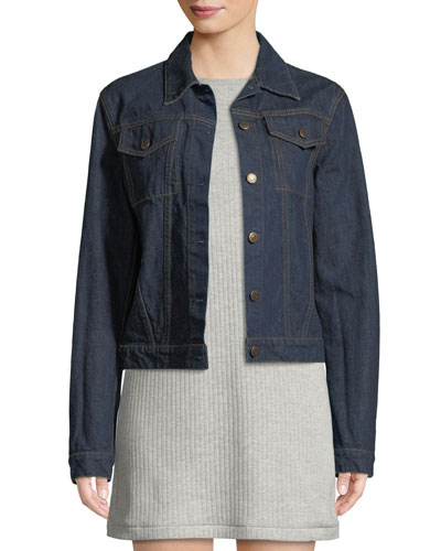 Archive Stripe Button-Front Denim Jacket